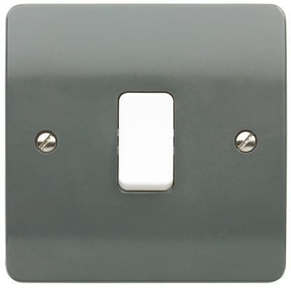 Graphite 10 A Surface Mount Rocker Light Switch Graphite 7 mm, 2 Way Screwed Semi Gloss, 1 Gang BS Standard, 250 V ac