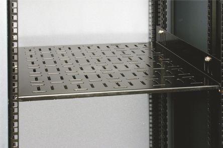 Black Ventilated Shelf, 2U x 870mm x 425mm, 100kg max
