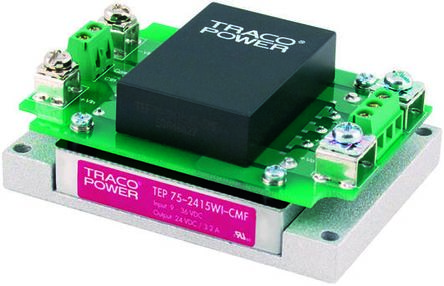 TRACOPOWER TEP 75WI 75W Isolated DC-DC Converter Chassis Mount, Voltage in 9 → 36 V dc, Voltage out 28V dc