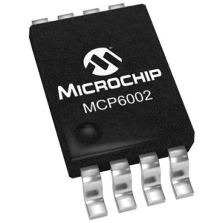 MCP6002-I/MS Microchip, Op Amp, RRIO, 1MHz, 3 V, 5 V, 8-Pin MSOP