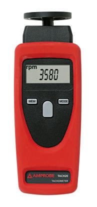 Amprobe TACH20 Tachometer, Best Accuracy ±0.02% + 1 Digit Contact, Non Contact LCD 9999 rpm, 99999 rpm