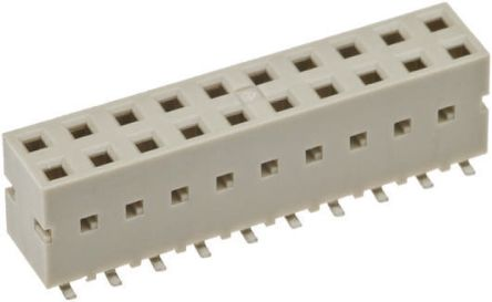 Amphenol FCI 2.54mm Pitch 6 Way 2 Row Straight PCB Socket, Surface Mount, Solder Termination
