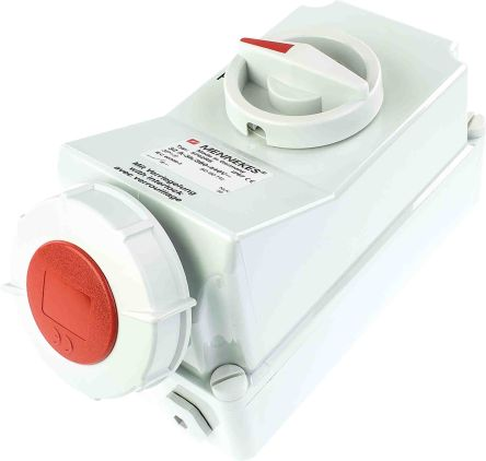 MENNEKES Switchable IP67 Industrial Interlock Socket 3PN+E, Earthing Position 6h, 125A, 400 V