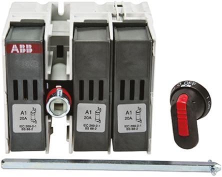 20 A 3P Fused Isolator Switch, A1 Fuse Size
