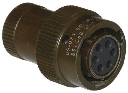 Souriau, 851 5 Way Cable Mount MIL Spec Circular Connector Plug, Pin Contacts,Shell Size 14, Bayonet Coupling,