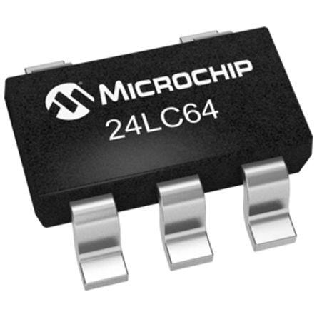 Microchip 24LC64T-I/OT, 64kbit Serial EEPROM Memory, 900ns 5-Pin SOT-23 I2C