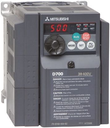 Mitsubishi Inverter Drive, 3-Phase In, 0 2 → 400Hz Out 3 7 kW, 400 V ac, 8  A, IP20 for use with FR-D700 Series