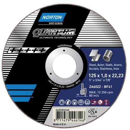 Norton Quantum Cutting Disc Zirconia Aluminium Cutting Disc, 115mm Diameter, 1mm Thick