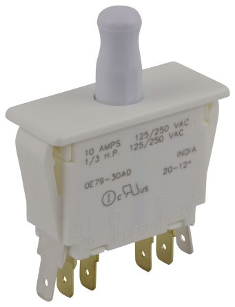 Double Pole Double Throw (DPDT) Push Button Switch, 10 A @ 250 V ac product photo