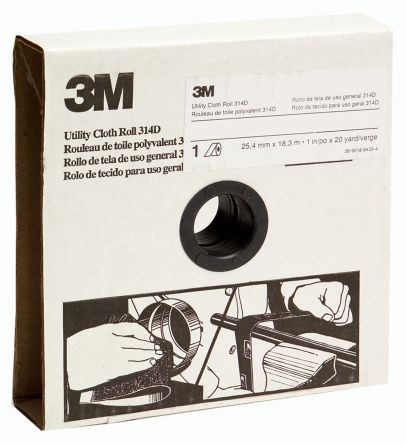 3M Aluminium Oxide Fine Abrasive Cloth Roll, 25m x 25mm