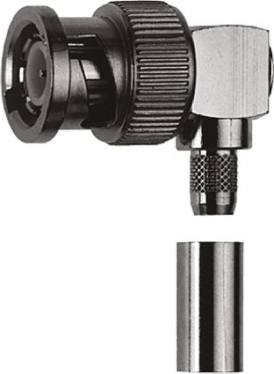 Right Angle 75O Cable Mount BNC Connector, Plug, Nickel, Crimp Termination, RG59 B/U product photo