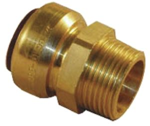 Straight Brass Push Fit Fitting 22mm x 3/4 in R Male product photo