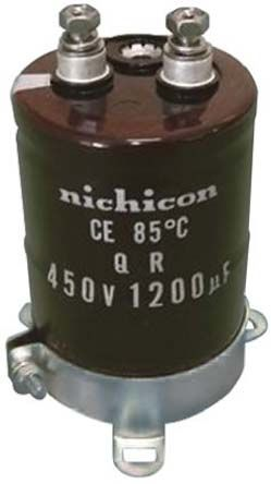 Nichicon Aluminium Electrolytic Capacitor 1200μF 450V dc 51mm Screw Terminal QR Series Electrolytic, ±20%