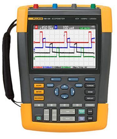 Fluke 190 II Series 190 ScopeMeter Colour Oscilloscope, Handheld, 4 Channels, 100MHz