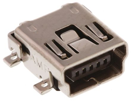 TE Connectivity USB Connector, SMT, Socket 2.0 B, Solder, Right Angle