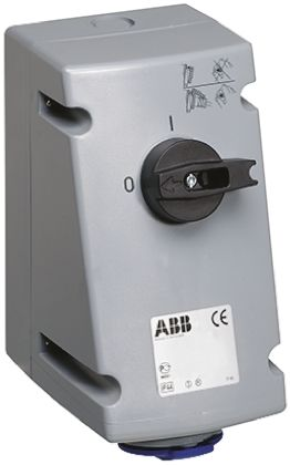 ABB Switchable IP44 Interlocked Socket 2P+E, Earthing Position 6h, 32A, 250 V