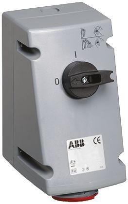 ABB Switchable IP44 Interlocked Socket 3P+E, Earthing Position 6h, 16A, 415 V