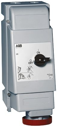 ABB Switchable IP67 Interlocked Socket 3PN+E, Earthing Position 6h, 63A, 415 V