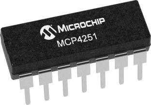 MCP4251-104E/P, Digital Potentiometer 100kΩ 257-Position Linear 2-Channel  Serial-SPI 14-Pin PDIP