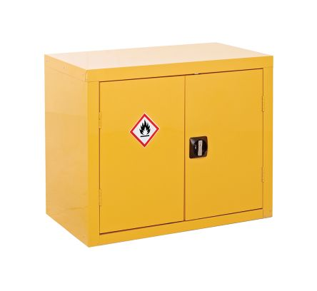 Yellow Lockable 2 Doors Hazardous Substance Cabinet, 700mm x 900mm x 460mm product photo