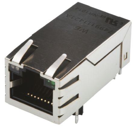 Mag jack RJ45 shld SMD tab up LED G/YG