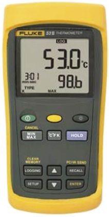 Fluke 53 Digital Thermometer, 1 Input Handheld, E, J, K, N, R, S, T Type Input