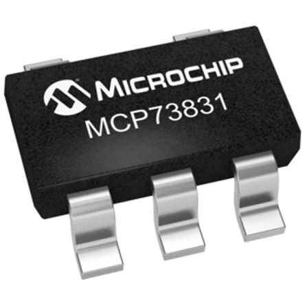 Microchip MCP73831T-2ACI/OT Lithium-Ion, Lithium-Polymer, Battery Charge Controller 5-Pin, SOT-23