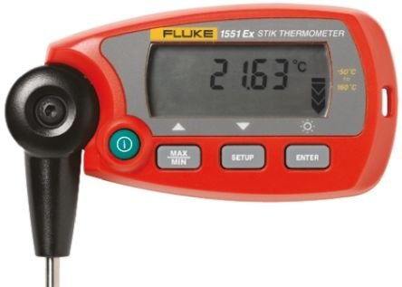 Fluke 1551 Digital Thermometer, 1 Input Handheld, RTD Type Input, Intrinsically Safe With UKAS Calibration
