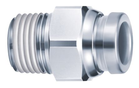 SMC Connector, R 3/8 Male, Push In 12 mm