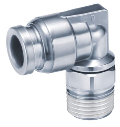 SMC Pneumatic Elbow Threaded-to-Tube Adapter, R 1/4 Male, Push In 8 mm