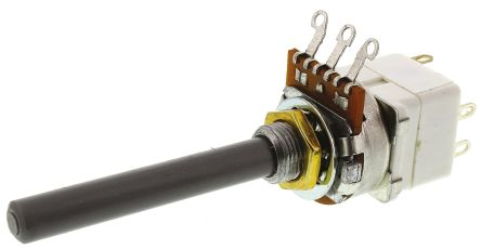TE Connectivity 23 Series Potentiometer with a 6.35 mm Dia. Shaft, 1MΩ, ±20%, 0.2W, Panel Mount (Through Hole)