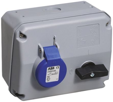 ABB Right Angle Switchable IP44 Interlocked Socket 2P+E, Earthing Position 6h, 16A, 250 V