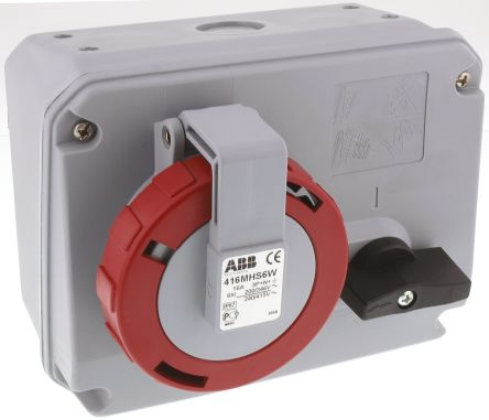 ABB Right Angle Switchable IP67 Interlocked Socket 3PN+E, Earthing Position 6h, 16A, 415 V