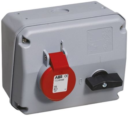 ABB Right Angle Switchable IP44 Interlocked Socket 3PN+E, Earthing Position 6h, 16A, 415 V