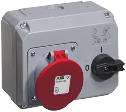 ABB Right Angle Switchable IP44 Interlocked Socket 3PN+E, Earthing Position 6h, 63A, 415 V