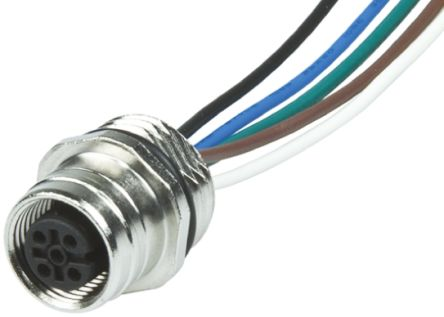 Brad, Ultra-Lock Series, Straight M12 to Unterminated Cable assembly, 8 Core 300mm Cable