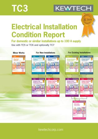 Kewtech Corporation TC3 Electrical Installation Certificate, Certificate Type Periodic Inspection, For Use With FC3000