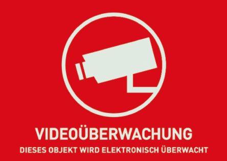 ABUS Red/White Surveillance Warning Sticker, Videoüberwachung-Text, German, 52.5 mm x 74mm