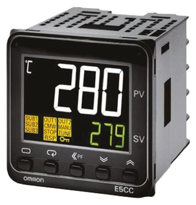 Omron E5CC PID Temperature Controller, 48 x 48mm Universal Input, 1 Output, 24 V ac/dc Supply Voltage