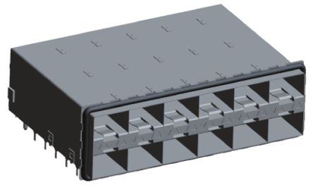 TE Connectivity SFP+ Series 20 Way 2 x 6 Port Male Straight SFP+ Cage Assembly Press-In Termination With Light Pipe