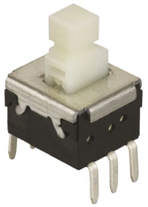 Yellow Lever Tactile Switch, Double Pole Double Throw (DPDT) 200 mA @ 14 V dc Through Hole