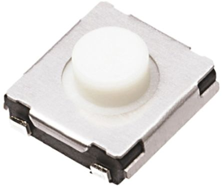 White Push Plate Tactile Switch, Single Pole Single Throw (SPST) 20 mA 3.1mm