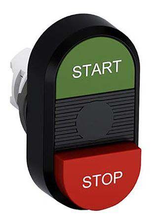 ABB ABB Modular Series, Green, Red Push Button Head, Momentary, 22mm Cutout
