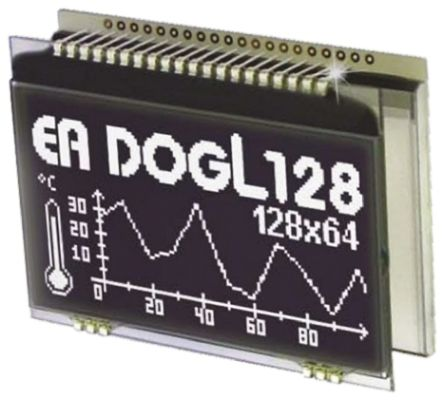 Electronic Assembly EA DOGL128S-6 Graphic LCD Display, Green, RGB, White on  Black, Transmissive