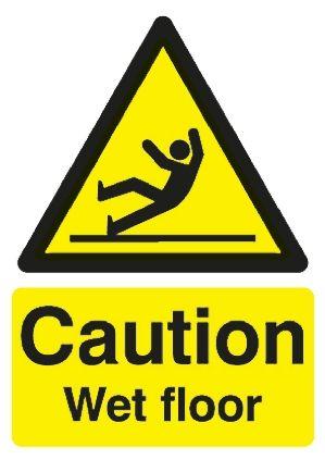 Cartello di avvertimento pericolo Attenzione, pavimento bagnato ...