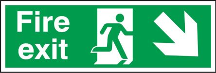 RS PRO Plastic Fire Safety Sign, FIRE EXIT Sign With English Text, 450 x 150mm