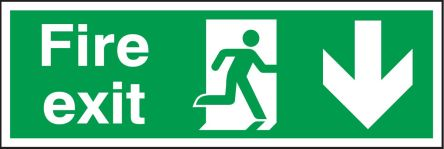 RS PRO Plastic Fire Safety Sign, Fire Exit Down Sign With English Text, 450 x 150mm