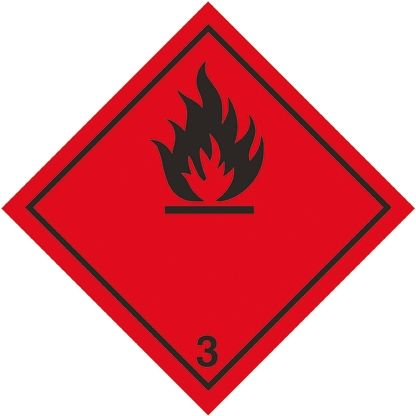 RS PRO Black/Red Vinyl Safety Labels, Flammable-Text 100 mm x 100mm