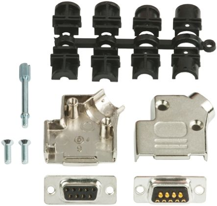 15 Way D-Sub Socket Connector Kit With Contact Insert, D-sub Socket Connector, Hood, UNC 4-40 Thumb Screws product photo