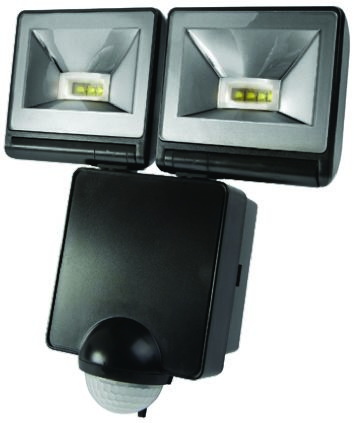 2 x 8W Twin LED PIR Floodlight Black